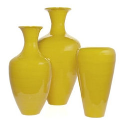 Lacquer Vases, Lemon - Lemon yellow lacquer vases will make me smile every time.
