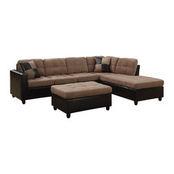 Adarn Inc - Microfabric Leather-Like Vinyl Mallory Reversible Sectional w/Ottoman, Tan - The Mallory collection was designed to create an inviting and warm atmosphere in homes. Ideal for use in living rooms or family rooms, this collection features a reversible sectional that can be rearranged to suit the needs of your room. The construction includes pocket coil seating for individualized comfort while loose seat and back cushions allow for easy fluffing. Each piece is wrapped in microfiber and leather-like vinyl for a fresh urban look without the high price point that comes along with leather. Details of this collection include exposed wood legs, smooth track arms and baseball seam stitching.