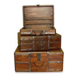 Kathy Kuo Home - Amir Wood and Iron Rustic Vintage Travel Trunks - The perfect gift for travelers and collectors, the Amir Travel Trunks are truly a wonderful collectors set.  Consisting of three vintage reproductions, each travel trunk is hand-made of wood with a chestnut finish and hand-hammered metal details with an antique silver finish.  The latches and handles are all in burnished bronze and the trunks can be neatly nested within one another and stored away when not in use or on display.
