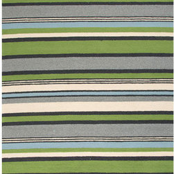 Jaipur - Colours Green and Ivory Rectangular: 5 Ft. x 7 Ft. 6 In. Rug - - Bring visual �pop� to outdoor living with the Colours I-O Collection. This energetic range of stripe, zigzag and stair-step designs bring together a myriad of multicolor palettes � all in durable, hand-hooked polypropylene construction. With its fashion-forward styles and bold scale, each design can function in a broad range of contemporary and transitional spaces � both indoor and out  - Cleaning and Care: Polyester is dirt and stain resistant and will look great for a long time just by vacuuming regularly. Dries fast so deep steam/rug cleaning works great to release dirt from fiber. If spills occur blot immediately. Use rug/carpet cleaners that are safe on synthetic fibers. Use professional cleaning agents only. To vacuum use an attachment arm or suction only to remove dirt particles  - Backing Material: Latex  - Companion Item: Rug Pad  - Pile Height: 0.25  - Construction: Indoor-Outdoor  - It is Sustainable  - Durable  - Easy Care  - Looped Pile  - Stripe Jaipur - RUG101248