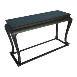 Antique Black Console Table - This console is decorated with muted antique black finish, distressed edges and top. With elegantly shaped cabriole legs, this antique black console adds class and style to a living room.