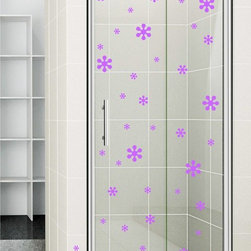 StickONmania - Shower Door Vinyl Decal #25 - These decals come with two of each element mirrored, you choose how to place them.A vinyl decal sticker that lets you choose how to decorate. Decorate your home with original vinyl decals made to order in our shop located in the USA. We only use the best equipment and materials to guarantee the everlasting quality of each vinyl sticker. Our original wall art design stickers are easy to apply on most flat surfaces, including slightly textured walls, windows, mirrors, or any smooth surface. Some wall decals may come in multiple pieces due to the size of the design, different sizes of most of our vinyl stickers are available, please message us for a quote. Interior wall decor stickers come with a MATTE finish that is easier to remove from painted surfaces but Exterior stickers for cars,  bathrooms and refrigerators come with a stickier GLOSSY finish that can also be used for exterior purposes. We DO NOT recommend using glossy finish stickers on walls. All of our Vinyl wall decals are removable but not re-positionable, simply peel and stick, no glue or chemicals needed. Our decals always come with instructions and if you order from Houzz we will always add a small thank you gift.