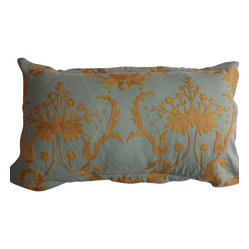 Crewel Pillow Bloom Teal Blue Cotton Duck 20x36