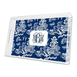 Boatman Geller Personalized Chinoiserie Navy Lucite Tray - This is my favorite outdoor tray in my favorite summer pattern. Bring out food and drinks with it, then use it as a decorative accent on your outdoor table all summer long.