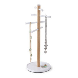 Umbra - Umbra Slide-It Jewelry Tree - Our Slide-it jewelry tree from Umbra mimics the simple form of a tree and adds sliding features similar to tree branches. The base acts as a dish for rings, watches and bracelets while the post and sliding arms easily display various sized jewelry.