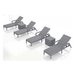 Forever Patio - Urbana 6 Piece Weathered Stone Patio Chaise Lounge Set, No Cushions - The Harmonia Living Urbana 6 Piece Rattan Patio Chaise Lounge Set  (SKU HL-URBN-WS-6RLCS-NC) brings comfort and style to your outdoor space. Each chaise is constructed with durable, thick-gauged aluminum frames which are protected by a powder coating for superior corrosion resistance. The wicker is made of High-Density Polyethylene (HDPE) with its Weathered Stone color and UV resistance infused into the strands themselves. This creates a rich wicker color that holds up incredibly well with age. This chaise adheres to the highest quality standards for modern patio furniture in the market today, meaning it will last for years to come.