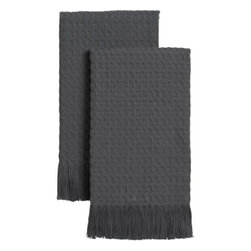 Set of 2 Waffle Grey Guest Towels - Refined waffle-weave cotton, elegant fringed borders and chic grey color extend a warm welcome as guest or hand towels.