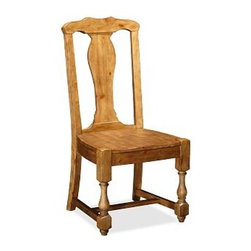 """Cortona Wood Side Chair, Vintage Spruce finish - Details like baluster legs and a vase-shaped back splat give this chair the substantial style of Spanish Colonial furniture. With its carved saddle seat, it's also exceptionally comfortable. Side Chair: 20.5"""" wide x 21"""" deep x 42"""" high Armchair: 25.5"""" wide x 21"""" deep x 42"""" high Handcrafted of kiln-dried hardwood. Finished by hand in our exclusive Alfresco Brown stain. Use with our Medium PB Classic Cushion (sold separately). View our {{link path='pages/popups/fb-dining.html' class='popup' width='480' height='300'}}Furniture Brochure{{/link}}."""