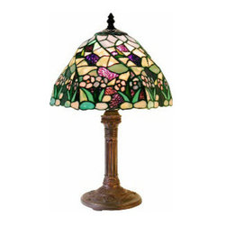 """Warehouse Of Tiffany - Tiffany-Style Lake Table Lamp - Tiffany Style Lake Table Lamp has combinations of green leaves, pink and blue florals. The base is made of white zinc metal. Each glass is individually cut and wrap around copper foil and soldered . Dimension is 18""""hx12""""w, requires 1 (60 watt) lightbulb and in line switch."""