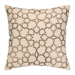"""Moroccan Star Embroidered Pillow, Greige - This lovely embroidered pillow features a Moroccan star pattern. The pillow is made with linen and features a feather-down insert. The pillow is dry clean only. It measures 20"""" X 20""""."""