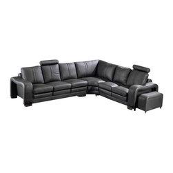VIG Furniture - Flix - Modern Black Leather Sectional Sofa - Modern leather Sectional Sofa available in Black or Espresso colors.