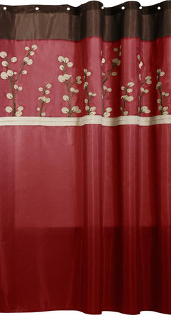 Lush Decor - Cocoa Flower Red Shower Curtain - Includes: 1 Shower Curtain. Faux silk with floral embroidery. Fabric Content:100% Polyester. Color: Red. Care Instructions: Dry cleaning is recommended. Machine wash and light iron if needed.. 72 in. L x 72 in. W
