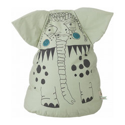 Ferm Living - Edward Bean Bag - Meet your little one's new best friend! This adorable elephant beanbag is meant to be sat on at snuggled with. He's made of 100 percent organic cotton, printed on both sides and filled with Styrofoam in a leak-proof interior case.