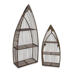 Nesting Boat Shelves - Set of 2 - Set of two matching wrought iron nesting boat shelves with cut outs throughout and neutral finish.