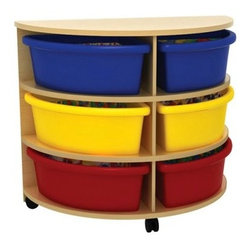 ECR4KIDS High Half Circle Storage Center with 6 Trays - Storage doesn't have to be boring. The Early Childhood Resources High Half Circle Storage Center with 6 Trays includes bright colorful and easy-to-clean plastic trays and can be moved wherever the active learning is taking place. Simply roll this sturdy storage cabinet where ever and whenever you need supplies within easy reach. You can also remove the plastic trays and place them where kids can access supplies and materials. Colorful red blue and yellow plastic trays will brighten any space. Assembly required. For use by children ages 3 and older with adult supervision.About Early Childhood ResourcesEarly Childhood Resources is a wholesale manufacturer of early childhood and educational products. It is committed to developing and distributing only the highest-quality products ensuring that these products represent the maximum value in the marketplace. Combining its responsibility to the community and its desire to be environmentally conscious Early Childhood Resources has eliminated almost all of its cardboard waste by implementing commercial Cardboard Shredding equipment in its facilities. You can be assured of maximum value with Early Childhood Resources.