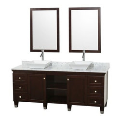 "Wyndham Collection(R) - Premiere 72"" Bathroom Double Vanity Set by Wyndham Collection - Espresso - A bridge between the traditional and modern, and part of the Wyndham Collection Designer Series by Christopher Grubb, the Premiere Double Vanity is at home in almost every bathroom decor. This solid oak vanity blends the simple lines of traditional design with modern elements like vessel sinks and brushed nickel hardware, resulting in a timeless piece of bathroom furniture. The Premiere comes with a White Carrera or Ivory marble counter, or upgraded CaesarStone counters, porcelain, marble, or granite sinks, and matching mirrors. Featuring soft close door hinges and drawer glides, you'll never hear a drawer slam shut again! Meticulously finished with brushed nickel hardware, the attention to detail on this beautiful vanity is second to none and is sure to be envy of your friends and neighbors! Available in a range of sizes and finishes.The Wyndham Collection is an entirely unique and innovative bath line. Sure to inspire imitators, the original Wyndham Collection sets new standards for design and construction. Features Constructed of environmentally friendly, zero emissions solid Oak hardwood, engineered to prevent warping and last a lifetime Highly water-resistant low V.O.C. finish Cutting edge, unique transitional styling by Interior Designer Christopher Grubb 12-stage wood preparation, sanding, painting and finishing process Floor-standing vanity Deep doweled drawers Fully extending bottom-mount drawer slides Soft-close concealed door hinges Single-hole faucet mount Faucets not included Plenty of storage space Brushed Steel leg accents Includes choice of natural stone counter and backsplash Includes choice of porcelain or optional granite or marble vessel sinks Includes matching mirror Metal hardware with brushed chrome finish 2 doors, 6 drawers How to handle your counter Spec Sheet for vanity Installation Guide for Countertops with Vessel Sinks Stone Vessel Sink Installation Guide Installation Guide for Mirrors -->Spec Sheet for WC-CG5000-LT Spec Sheet for WC-K-W045 Spec Sheet for WC-V202 Spec Sheet for WC-V203 Spec Sheet for WC-V205 Spec Sheet for WC-V206 Spec Sheet for WC-V207 Installation Guide for WC-V207 Please note that all custom natural stone and Caesarstone counters are proudly manufactured in the USA specifically for your order, and so require up to 3 weeks manufacturing time. Caesarstone Carbone, Starry Night, Spring Blossom, and Marrone are made from recycled content. Quartz Reflections and Ruby Reflections colors are made with up to 35% post-consumer recycled glass. Chocolate Truffle color is made with up to 17% post-consumer recycled glass.Natural stone like marble and granite, while otherwise durable, are vulnerable to staining from hair dye, ink, tea, coffee, oily materials such as hand cream or milk, and can be etched by acidic substances such as alcohol and soft drinks. Please protect your countertop and/or sink by avoiding contact with these substances. For more information, please review our ""Marble & Granite Care"" guide."