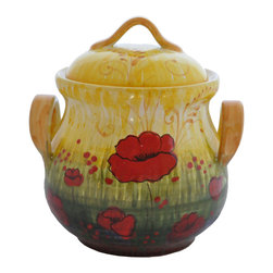 Abbiamo Tutto - Poppy Biscotti Jar - Poppy Cookie Jar - Hand formed on a potters wheel and hand painted with a design inspired by the many, many poppies that cover the Italian countryside in the spring. Made in Tuscany, Italy exclusively for Abbiamo tutto. Vibrant shades of red, green, yellow and blue create a spectacular painting on the cookie jar.  Variations in color and design are the part of the nature and charm of the piece. Food safe. Lead free.