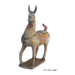 Chinese Pottery Clay Ancient Style Horse Figure - This is a hand made oriental ancient style horse figure in vintage finish.