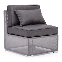 Zuo - Clearwater Bay Outdoor Middle Chair - The Clearwater Bay Outdoor Collection is sleek and sophisticated with its clean lines and sexy silhouettes.  The unique gauze-like gray fabric wraps the light-weight aluminum frame keeping the look clean and modern.  Put this gray collection in your outdoor space and add black and white accents for a more monochromatic, contemporary look or add pops of color with throw pillows in any hue you can dream of for a more playful space.  Regardless of the look you aspire to achieve, let the Clearwater Bay Outdoor Middle Chair complete your patio or pool-side space.  The cushions are included and fabrics are water resistant, so let this all-weather collection set the tone for summer in your backyard.