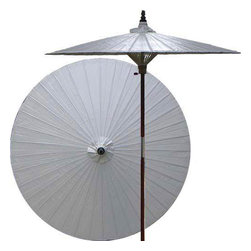 Oriental-Decor - Lychee Patio Umbrella - Children, helpful people and marriage are all attributed to white in the Oriental tradition. White is also an optimal color for mixing well with any outdoor color theme, and in general signifies purity. Allow this gorgeous solid white patio umbrella to enrich your lawn, patio or deck area.