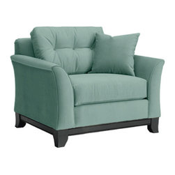 Apt2B - Marco Chair, 60's Blue - Make yourself comfortable on the Marco Collection. Tufted buttons on the back cushions, and a wood base stained in a rich, espresso finish give it a modern look.
