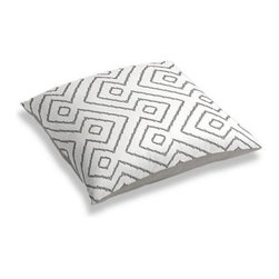 Gray & White Optical Diamond Custom Floor Pillow - A couch overflowing with friends is a great problem to have.  But don't just sit there: grab a Simple Floor Pillow.  Pile em up for maximum snugging or set around the coffee table for a casual dinner party. We love it in this super chic gray and white diamond print on pure linen. A bold, graphic statement in your modern home.