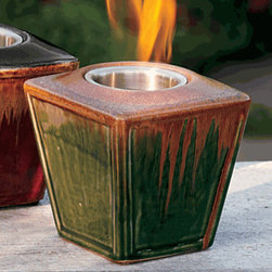 Olive Green Ceramic Firelite - This affordable firepot combines two of my favorite things - firelight and pottery. The glaze on these red and green pots is beautiful even when not lit. They're a great size for side tables both indoor and out.