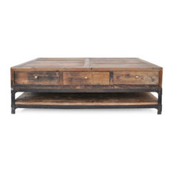 Remington Coffee Table - Urban Home Remington Coffee Table made of Salvaged Timber that been hand distressed. Our unique custom design features three drawers and a lower shelf.