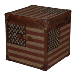 Kathy Kuo Home - Stars and Stripes Modern Industrial Leather Trunk Side End Table - Americana at its finest is reflected in this rustic leather trunk, which celebrates Old Glory with a rock n' roll style. This vintage-inspired wood piece is the coolest end table on the market.