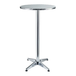 LexMod - Elevate Modern Round Aluminum Indoor/Outdoor Bar Table - Imbue your Indoor/Outdoor gatherings with an uplifting instrument of service. Invoke overflowing plenitude with a work that collects the best of your surroundings and presents it for all to see. Thrive together and extract something precious as the Elevate Modern Round Aluminum Bar Table continually exceeds expectations.