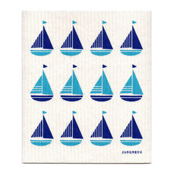 Jangneus - Swedish Dishcloth Sailboats - Variations in Color, Blue/Turquoise - THE SWEDISH ECO-FRIENDLY DISHCLOTH: The dry sponge cloth was invented in 1949 by the Swedish engineer Curt Lindquist, who discovered that a mixture of natural cellulose (wood pulp) and cotton can absorb an incredible 15 times its own weight in water.