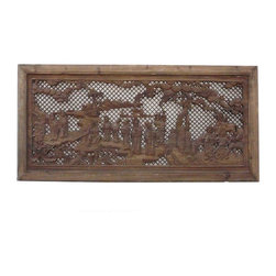 Golden Lotus - Chinese Opera Scenery Carved Wooden Wall Panel - This horizontal wooden panel is carved with traditional Chinese opera scenery of different characters with the pine tree and step stone background.  It is a good material for home decoration as wall decor or room divider center piece.