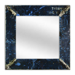 Square wall mirror KARA, made from recycled oil drums, Blue - Unusual square mirror made from recycled Oil Drums - makes a unique statement.