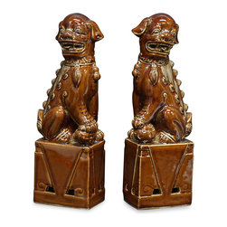"""China Furniture and Arts - Porcelain Brown Foo Dogs - As fantasy lions of Chinese mythology, Foo Dogs always stand in pairs to serve as guardians and prevent harmful things from happening to the family. This pair is hand made by skilled craftsmen in China with great attention to detail. Perfect for display on a mantel or side table as a symbolic Asian accent, this particular pair is painted in earthy brown tones with shiny glaze for added appeal. Each one is 3.5""""W x 2.5""""D x 10.75""""H."""