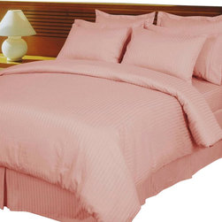 Royal Tradition - RT Pink Damask Stripe Down Alt. 4pc Comforter Set Egyptian 600TC - Luxury 4-PC Egyptian Cotton Down Alternative comforter set: The Ultimate in Luxury. This Luxury item was made with easy-care in mind, the Down Alternative comforter is included along with a luxury Duvet cover made of 100% Egyptian cotton and 600 thread count per inch. so you never have to wash your comforter again.