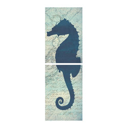 One Red Buffalo - Sea Horse Diptych - The perfect wall decor for coastal character with a bold, graphic silhouette of sea wildlife on a subtle vintage ocean chart background with aged script.
