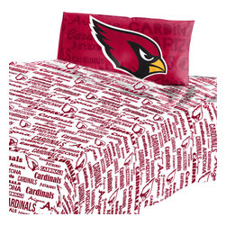 The Northwest Company - Arizona Cardinals Twin Sheet Set Anthem Bed Sheets - Features: