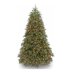 7 1/2 Ft. Feel-Real Fraser Fir Christmas Tree with 1000 Multi Lights - Measures 7.5 feet tall with 59 inch diameter. Features FEEL-REAL branch tip technology for remarkable realism! Pre-lit with 1000 UL listed, pre-strung Multicolor lights. Tip count: 2696. All metal hinged construction (branches are attached to center pole sections). Comes in three sections for quick and easy set-up. Includes sturdy folding metal tree stand. Light string features BULB-LOCK to keep bulbs from falling out. If one bulb burns out the others remain lit. Fire-resistant and non-allergenic. Includes spare bulbs and fuses. 5-year tree warranty / 2-year lights warranty. Packed in reusable storage carton. Assembly instructions included.