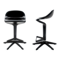 Kartell - Spoon Stool, Black - This stool is all about equality. Its avant-garde design consists of attaching the seat to a central support with a\