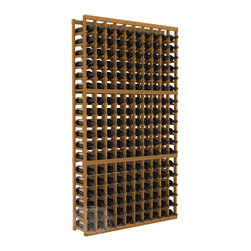 10 Column Standard Cellar Kit in Redwood with Oak Stain - This rack is vital to any serious wine collector. Rock solid assembly of high grade pine or redwood is guaranteed to last. Designed for expandability, stability and rigidity; we don't top-load an extra bottle to meet our specs.