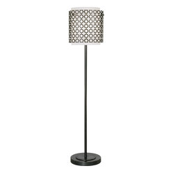 Robert Abbey - Jonathan Adler Parker Floor Lamp - An outer shade of dark, bronze perforated metal lends a hint of exotic Mediterranean lantern flavor to this otherwise contemporary floor lamp. With its slender metal stand and frosted-white glass shade, it's got a simple sophistication that complements even the most clean-cut of styles. When that shade casts dreamy patterns on the walls, you'll feel a little of that romantic soul come alive.
