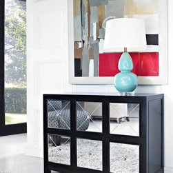 Contemporary Venetian Mirrored 6-Drawer Black Wood Console - This Mirrored Six-Drawer Black Wood Console is perfect to add glitz and drama to your decor. The console features six deep drawers each accented by a glamorous mirrored front. A wide top is perfect for displaying flowers, photos or a lamp. A unique addition for an entry, hall or living space. www.cheapchicdecor.com