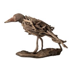 Lazy Susan - Lazy Susan Natural Driftwood Bird - Driftwood that washed ashore on beaches around the world and handcrafted by artisans transforms into a whimsical bird. Each wood piece is naturally smoothed by the ocean and individually hand-selected for the sculpture. A carved beak and exposed nails add to the organic beauty. Perch it on a bookshelf for a wonderful work of art that makes decorating your home with a green and sustainable conscience simple.