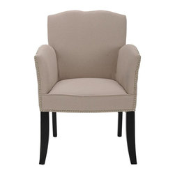 Safavieh - Burlington Arm Chair - The Burlington armchair is fit for a queen. Fully upholstered in taupe linen, with tall, slightly curved arms and a backrest with lovely wave-like shape, Burlington is a chair that invites long conversations. Shown with black finish on legs.