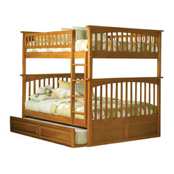 Atlantic Furniture - Atlantic Furniture Columbia Full over Full Bunk Bed in Caramel Latte - Atlantic Furniture - Bunk Beds - AB55507 - The Atlantic Furniture Columbia Full over Full Bunk Bed has a clean modern look with subtle Mission styling. The simple lines of the head and foot boards have the square posts and slats characteristic of this design. This versatile bunk bed is available in a number of options that is sure to please both you and your child.