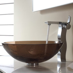 Kraus - Kraus Clear Brown Glass Vessel Sink and Sonus Faucet - Add a touch of elegance to your bathroom with a glass sink combo from Kraus.