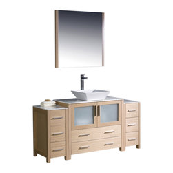 """Fresca - 60"""" Light Oak Vanity w/ 2 Side Cabinets & Vessel S Soana Brushed Nickel Faucet - Fresca is pleased to usher in a new age of customization with the introduction of its Torino line.  The frosted glass panels of the doors balance out the sleek and modern lines of Torino, making it fit perfectly in eithertown or country decor."""