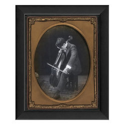 The Artwork Factory - Charlie Chaplin Framed Artwork - One of biggest icons of the silent screen, Charlie Chaplin is shown on this print in one of his more poignant moments, playing the cello. This framed portrait exudes the feel of the era with scrolled details. It's the perfect gift for the movie buff in your life.