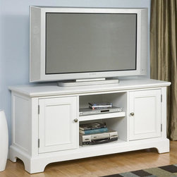 HomeStyles - Naples Entertainment Credenza - Two doors open to storage area with an adjustable shelf. Open center storage with an adjustable shelf for audio components. Wire management opening. Accommodates most 60 in. TVs. Made from Asian and engineered hardwood. Rich white finish. Made in Thailand. 56 in. W x 20 in. D x 26 in. H. Assembly InstructionsThe Naples entertainment stand is a perfect addition to any cottage style decor. It is a complement to any light, airy room. Including a clear coat finish to help guard against wear and tear stemming from normal use.