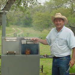 Goliad Weekend House - L.J.'s prize possession is this smoker, made for him by his friend John Anderson.